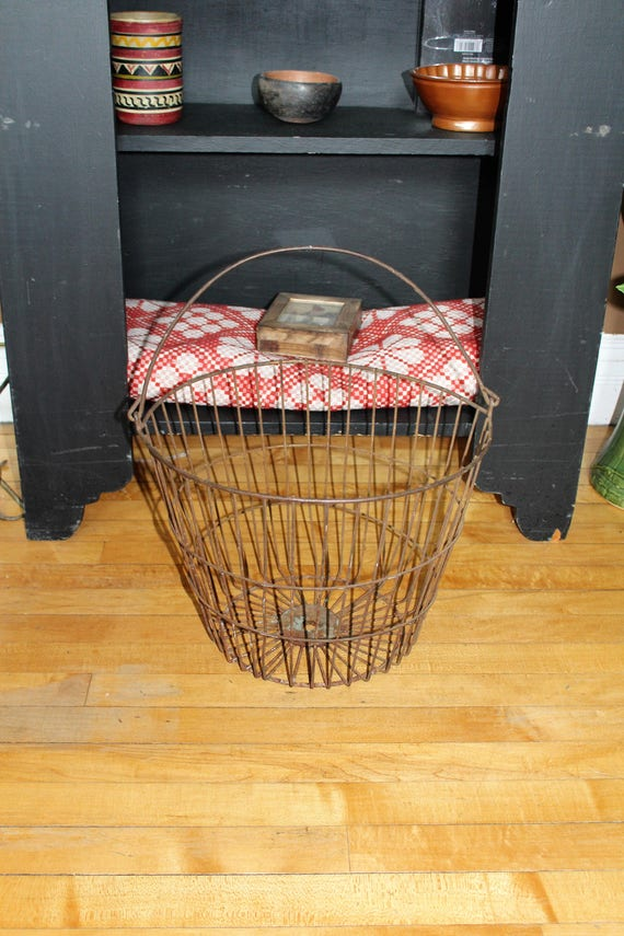Antique Metal Potato Basket Rustic Farmhouse Decor