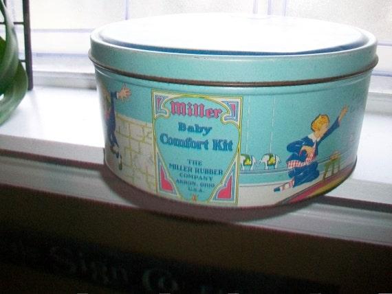 Miller Baby Comfort Kit Tin Miller Rubber Co. Vintage 1920s 10 Inch