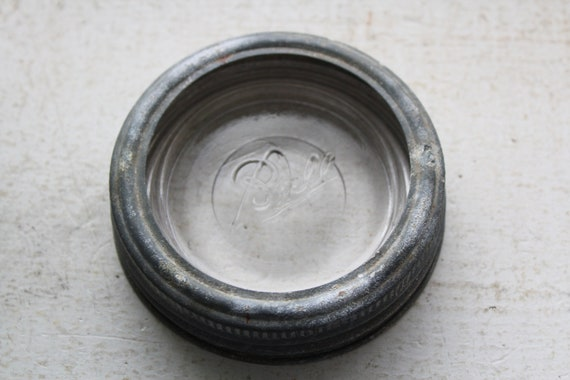 Vintage Wide Mouth Ball Mason Jar Lid Ring and Glass Insert