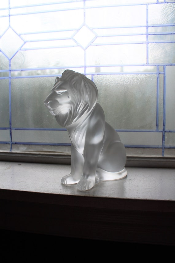 Lalique Crystal Bamara Lion Sculpture Satin Finish Authentic Signed