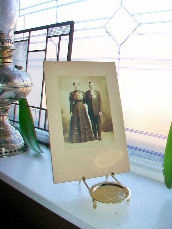 Antique Photograph Victorian Bride and Groom 1800s Cabinet Card Mennonite Couple
