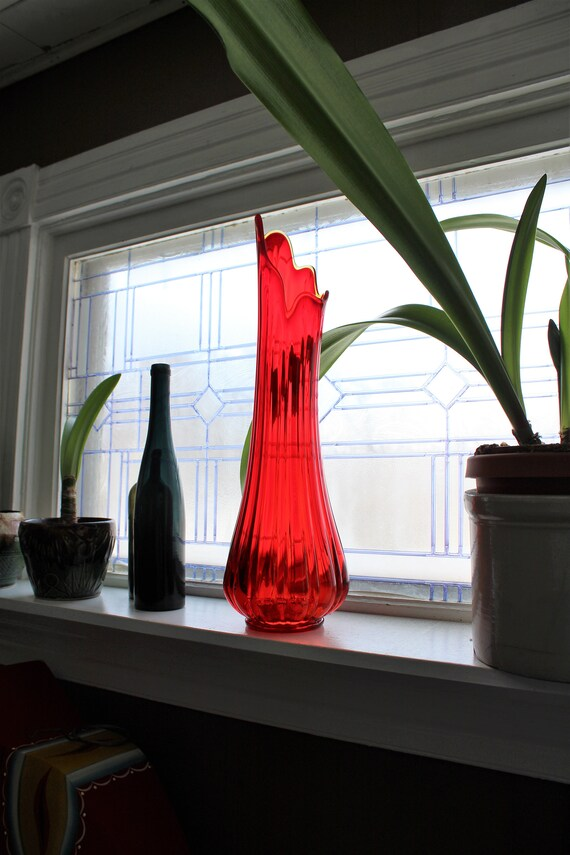 """Large Red Glass Vase 24.5"""" Vintage Mid Century Modern Swung Glass"""