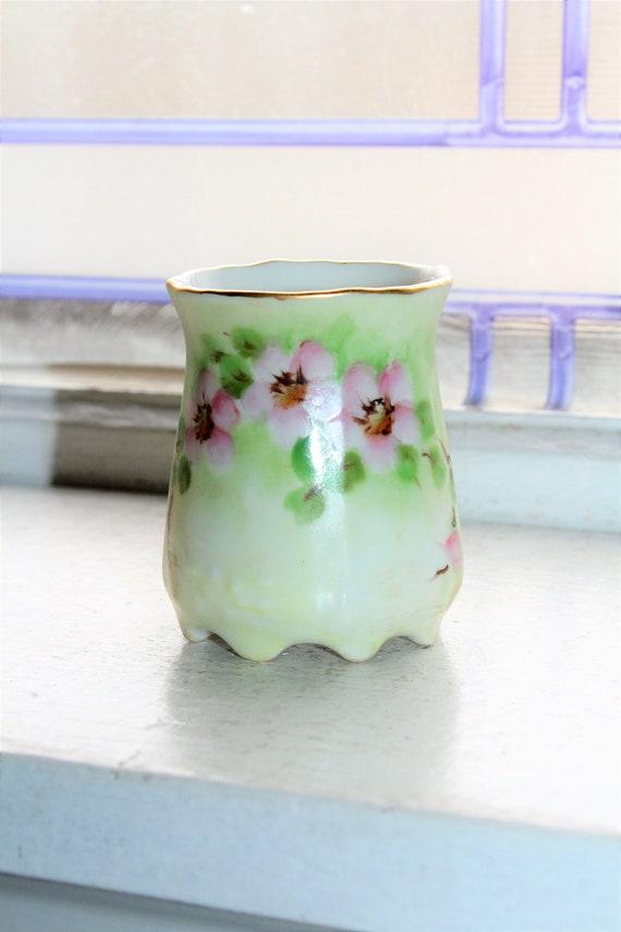 Vintage Toothpick Holder Hand Painted Porcelain Pink Flowers