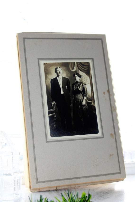 Antique Photograph Edwardian Man and Woman 11 x 7 Inches