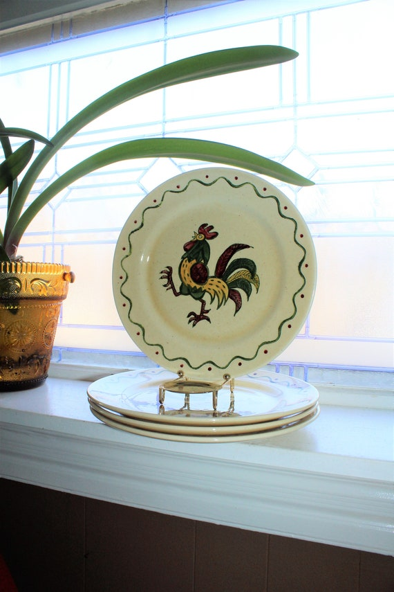 Metlox Poppytrail Rooster 3 Dinner Plates Vintage 1960s