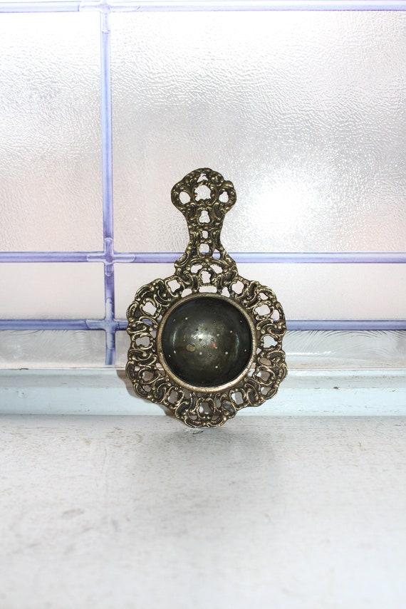 Antique Brass Tea Strainer Late 1800s Ornate Victorian