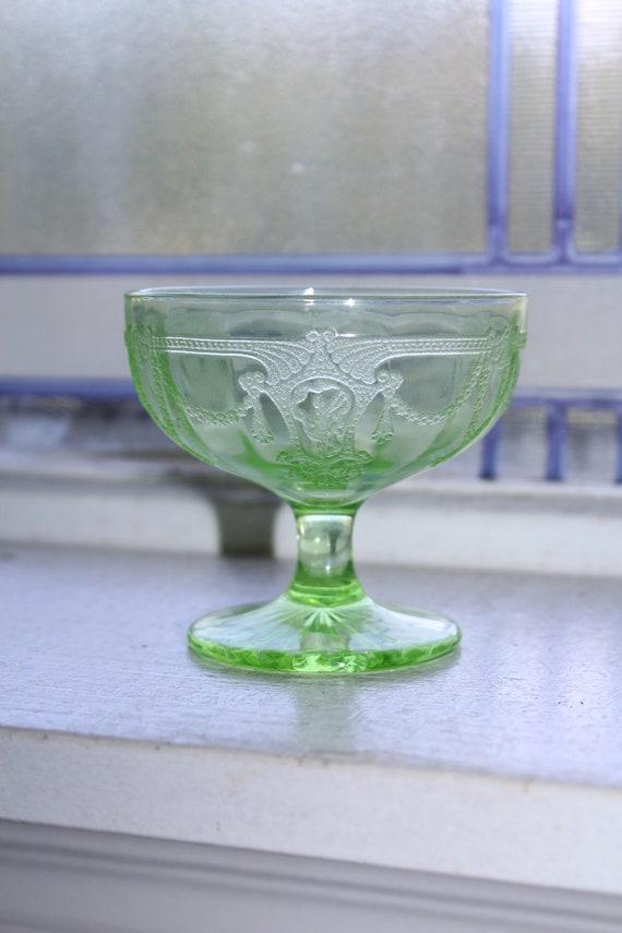 Green Depression Glass Sherbet Dish Cameo Ballerina 1930s
