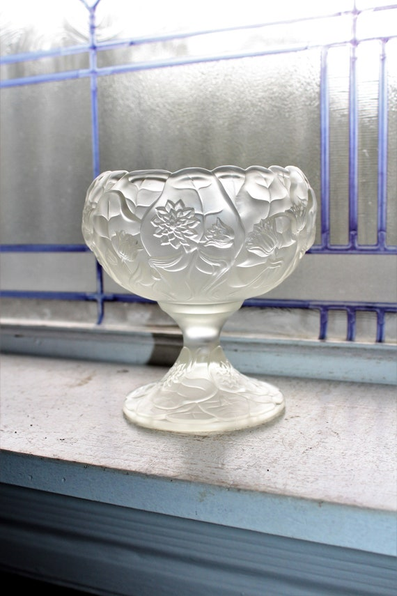 Fenton Clear Satin Glass Compote Water Lily Rose Vintage Art Glass