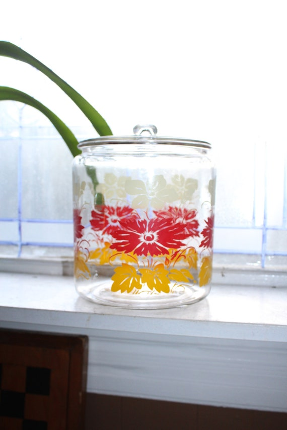 Large 1950s Glass Cookie Jar Red White Yellow Flowers Kitchen Canister