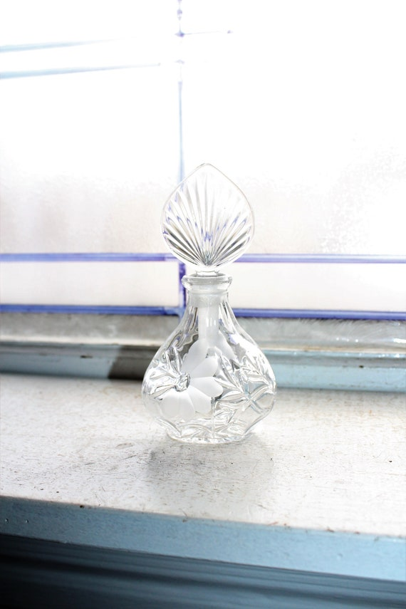 Vintage Pressed Glass Perfume Bottle with Frosted Flower Decoration