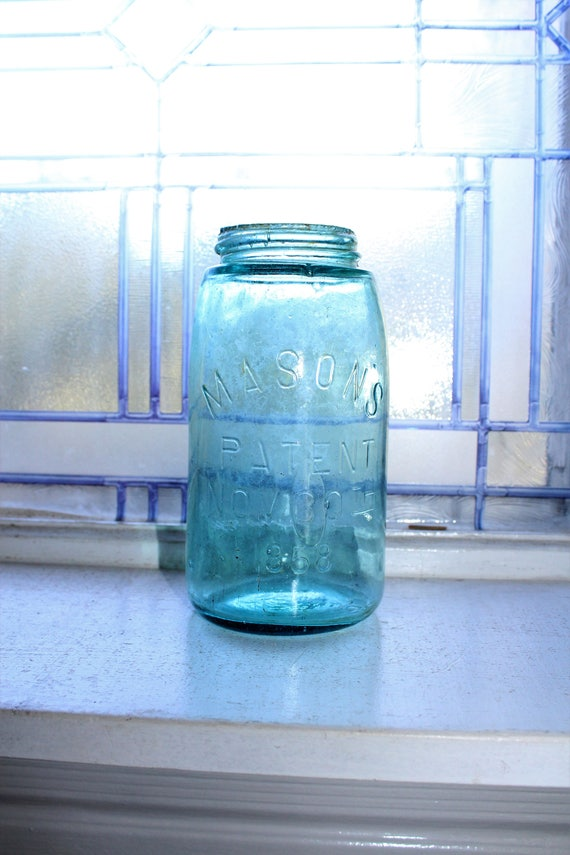 Antique Blue Mason Jar Quart Mason's Patent Nov 30th 1858