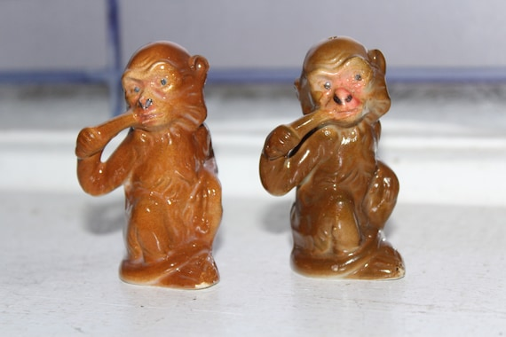 Vintage Salt and Pepper Shakers Brown Monkeys