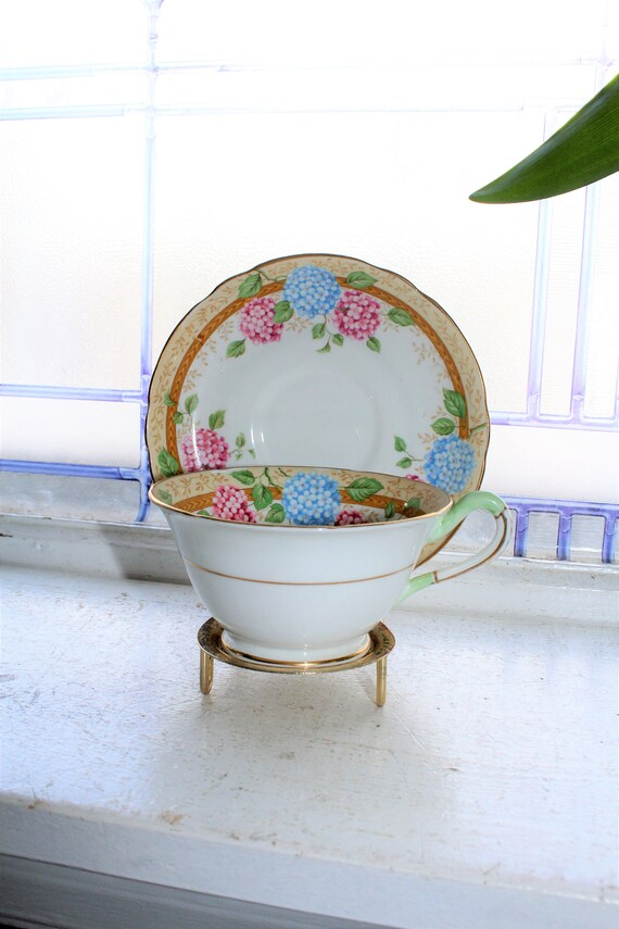 Vintage Teacup and Saucer Copelands Grosvenor Hydrangea 1930s