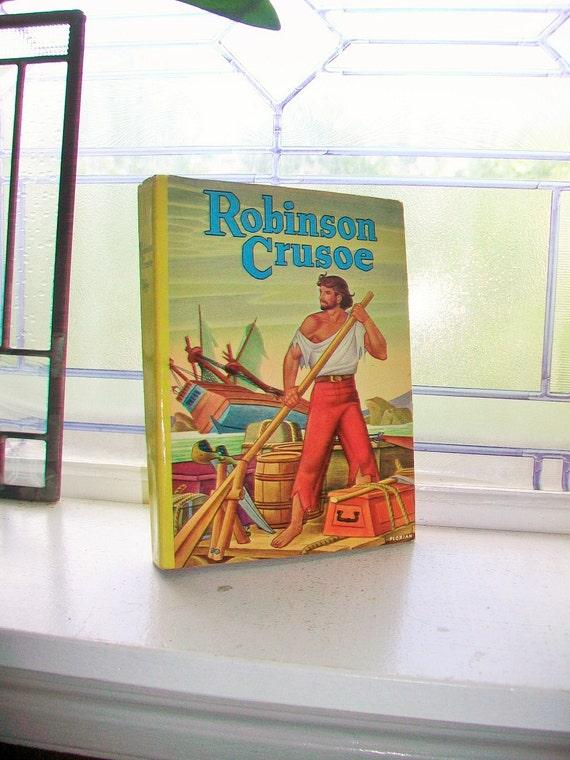 Robinson Crusoe Vintage 1950s Hardcover Book with Dust Jacket by Daniel Defoe