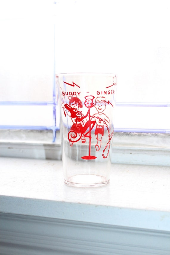 Buddy & Ginger Glass Tumbler Vintage Advertising