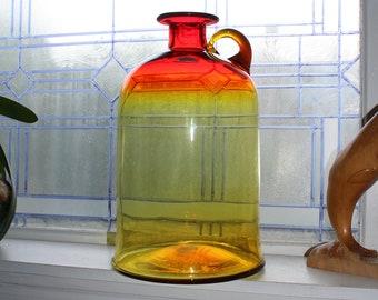 """Large Vintage 1972 Blenko Glass Amberina Jug 15"""" 7226M"""