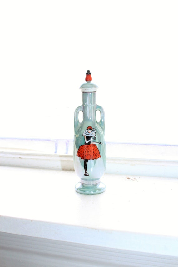 Art Deco Noritake Lusterware Lady Clown Perfume Bottle Vintage 1920s