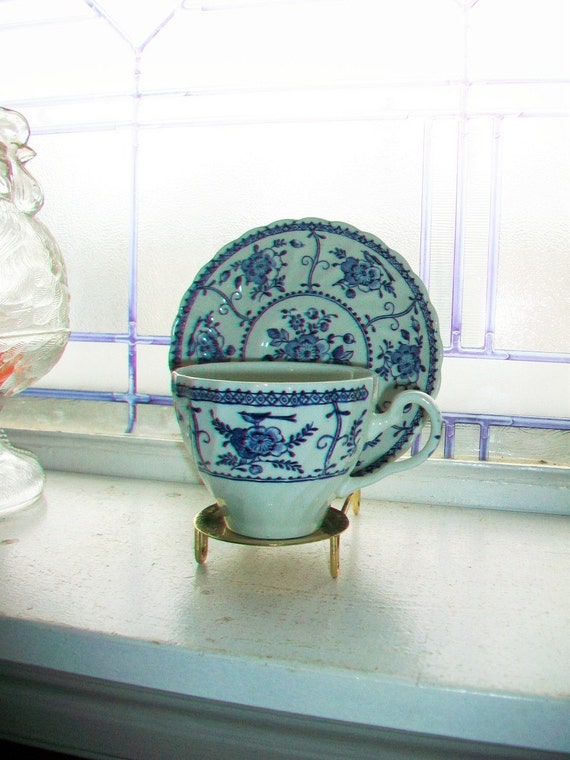Blue and White Tea Cup and Saucer Indies Johnson Bros. English