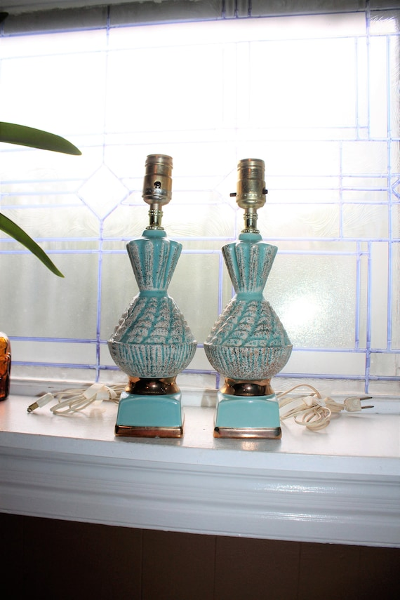 Vintage Bedroom Lamps Pair Mid Century Turquoise White and Gold 1950s