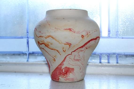 Vintage Nemadji Pottery Vase 5.5 Inch Swirl Pottery