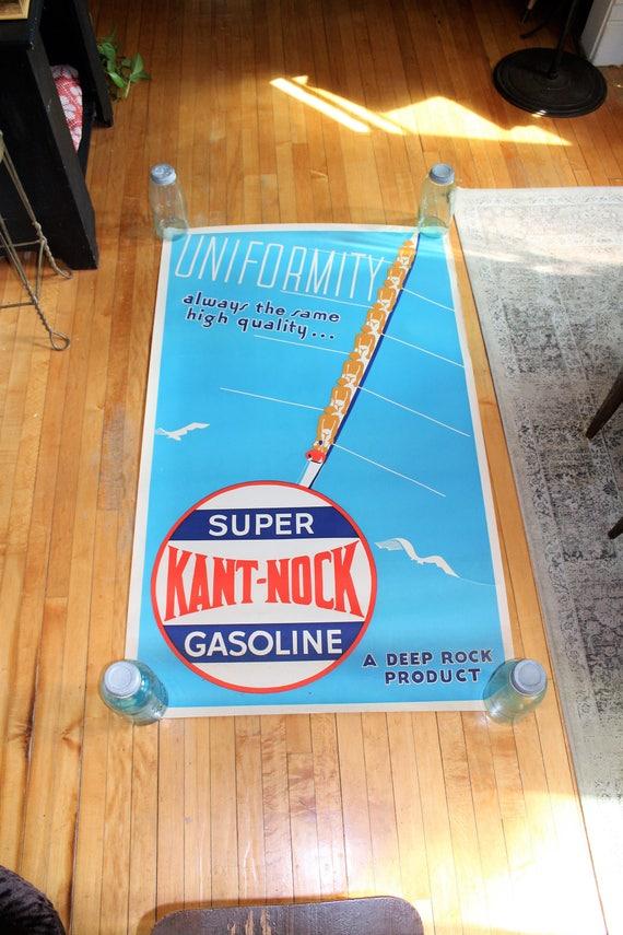 Kant Nock Gasoline Poster Vintage 1940s Gas Station Advertising Sign