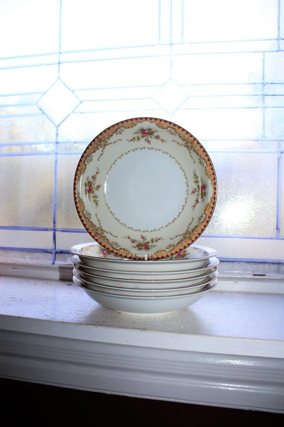 Vintage Meito China 6 Soup Bowls Derby Pattern