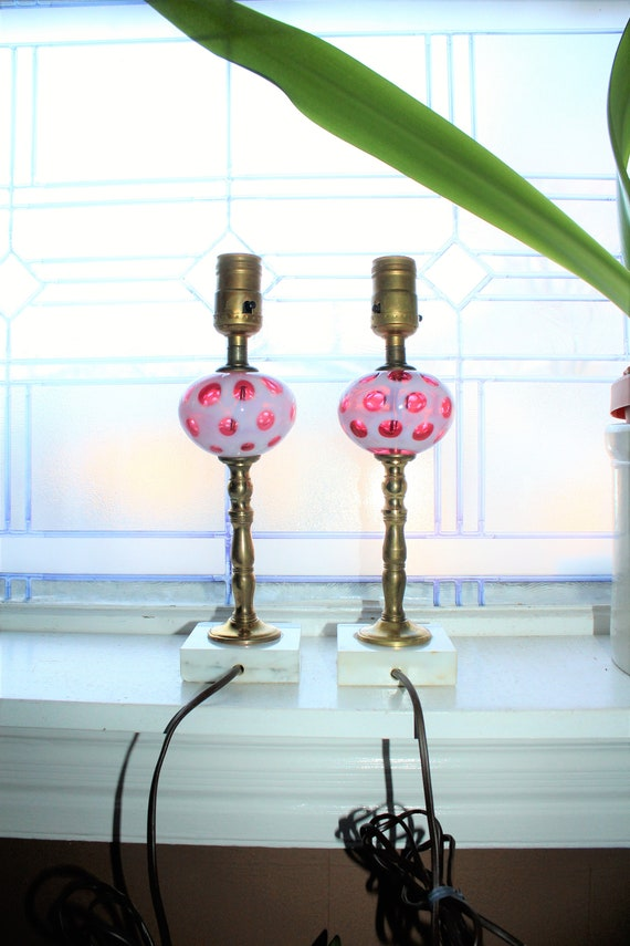 Vintage Pair Cranberry Coin Spot Glass Bedroom Lamps with Marble Bases