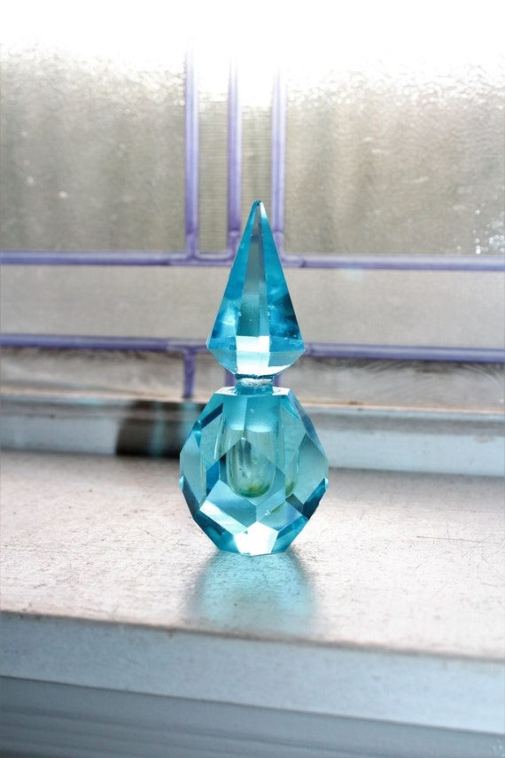 Irice Perfume Bottle Blue Cut Glass Vintage 1950s