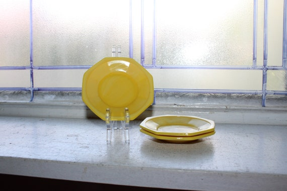 3 Vintage Akro Agate Yellow Saucers Childrens Dishes 1940s