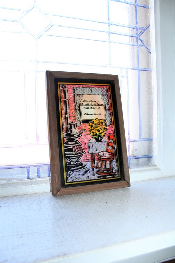 Vintage Silhouette Print Wisdom Hath Builded Her House Proverbs 9:1