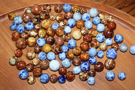 102 Bennington Pottery Clay Marbles Brown Blue and Fancy Antique 1800s