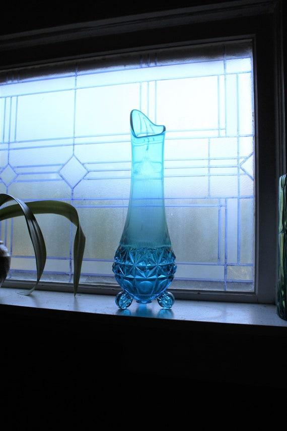 "Large Blue Swung Glass Vase 17"" Vintage Mid Century Modern"