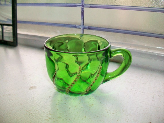 Antique Forest Green Glass Punch Cup with Gold Trim