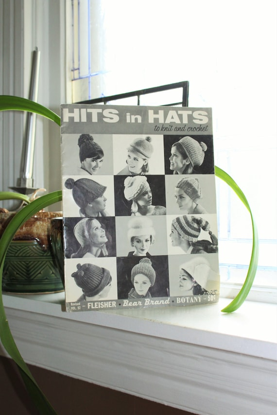 Hits In Hats Knit and Crochet Patterns Magazine Vintage 1965