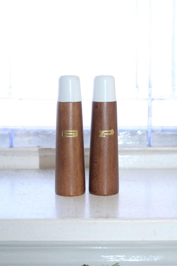 Vintage Salt and Pepper Shakers Mid Century Wood