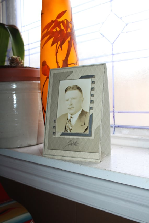 Vintage Art Deco Frame with Man Photo 1930s