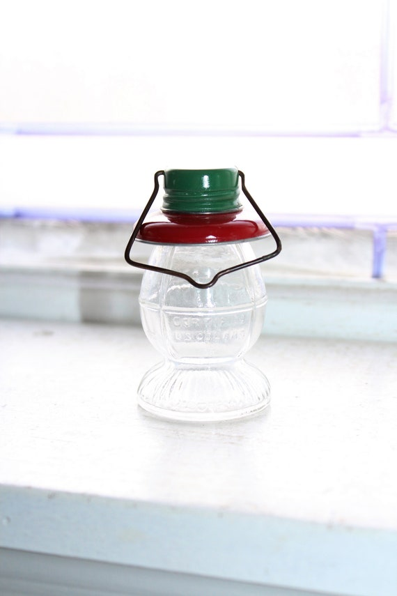 Glass Candy Container Lantern Vintage 1940s Toy