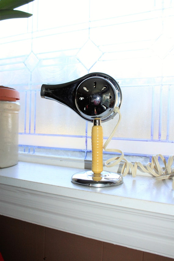 Vintage Blow Dryer & Stand Chic Chrome  Yellow Wooden Handle