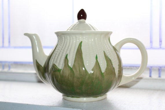 Shawnee Pottery White Corn Tea Pot Vintage 1940s