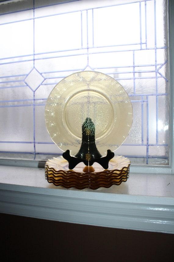 7 Vintage Textured Amber Glass Dinner Plates Wavy Pie Crimp Rim