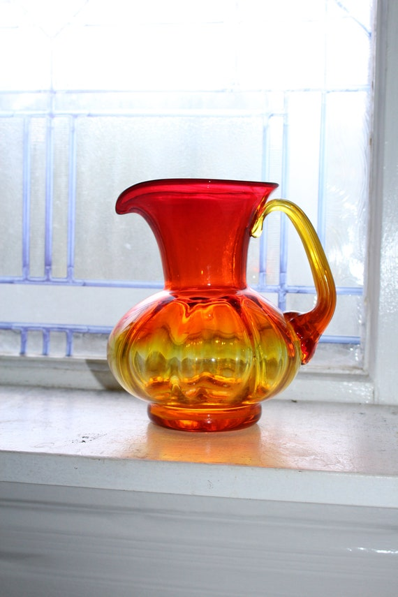 Vintage Blenko Amberina Ribbed Pitcher 1960s Art Glass