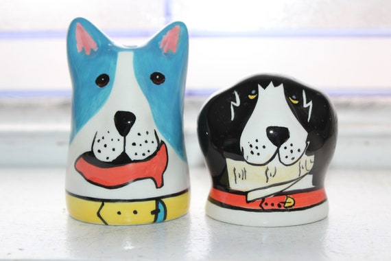 Retro Colorful Dogs Salt and Pepper Shakers Dogzilla Candace Reiter