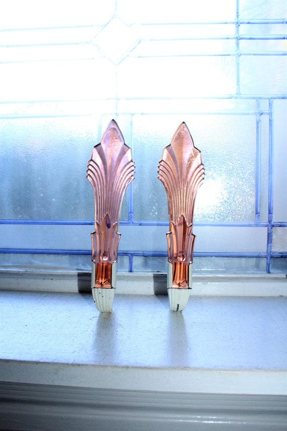 2 Vintage Art Deco Curtain Tie Backs Pink Depression Glass 1920s