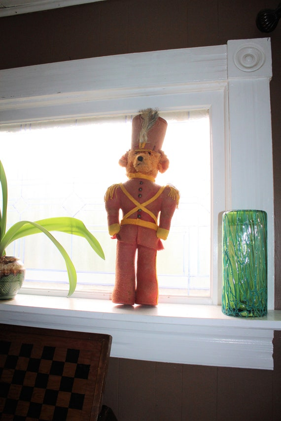 Large Vintage Toy Teddy Bear in Drum Majorette or Soldier Uniform