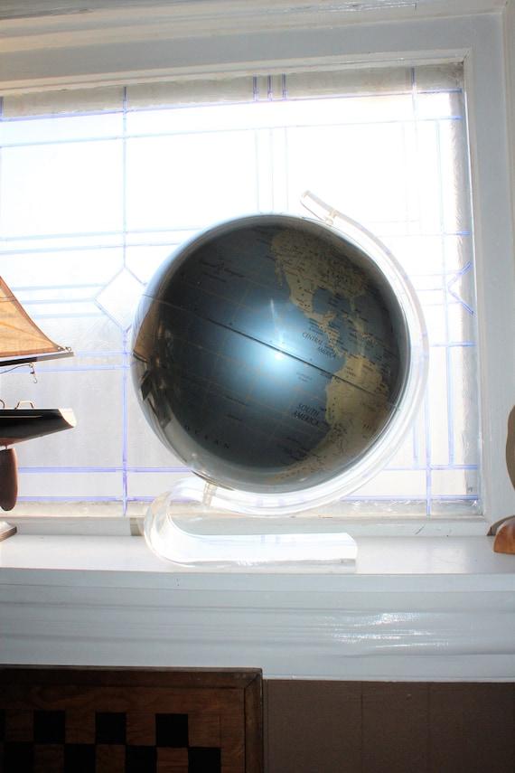 Rare Vintage Replogle Diamond Marquise Globe in Lucite Stand 1970s