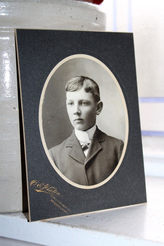 Vintage Cabinet Card Photograph Young Victorian Lad