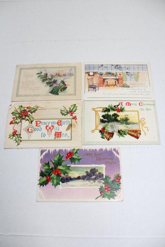 5 Antique Christmas Postcards 1900s