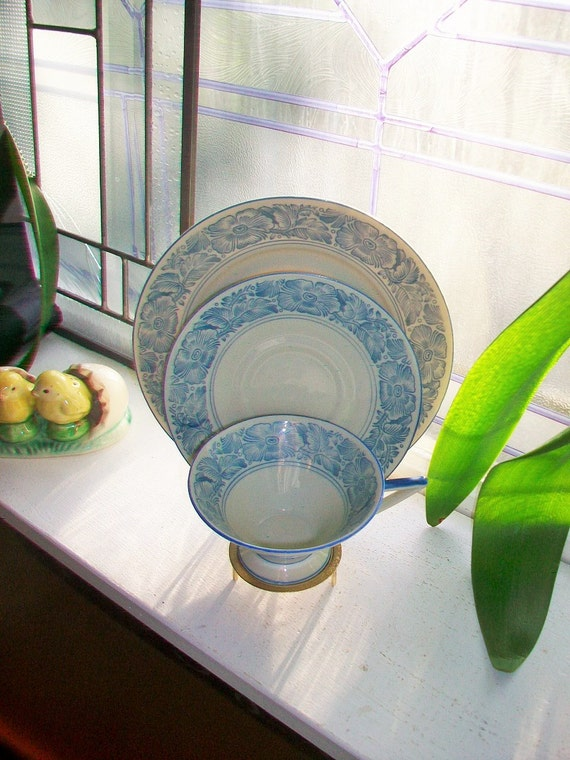 Vintage Bareuther Bavaria Trio Tea Cup Saucer and Luncheon Plate Blue and White Art Deco