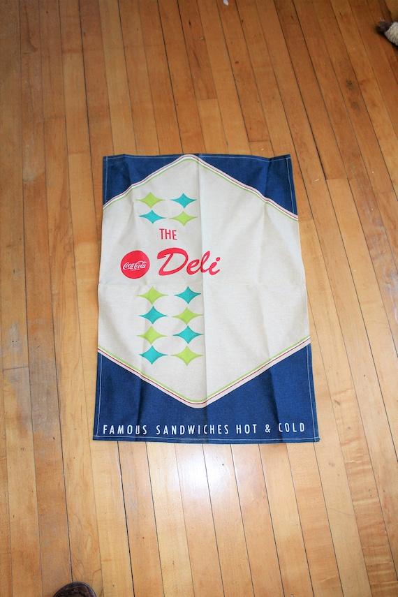 Vintage Coca Cola Deli Tea Towel Famous Sandwiches Hot and Cold