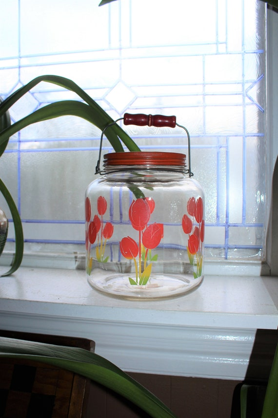 Large Glass Coffee Cookie Jar with Tulips Kitchen Canister Wood Handle